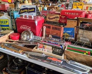 Vintage point of purchase automotive displays. Coca cola cooler. License plates. Glass gas pump inserts.