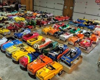 Over 100 pedal cars ready to hit the road again!