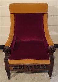 Antique Velvet Chair on Castors