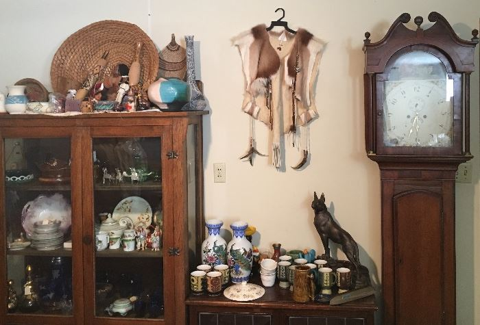 Native American Items Such as Pottery / Extremely Old Grandfather Clock