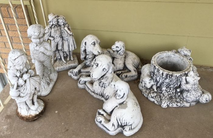 Lots of Heavy / Solid Statue / Statues / Statuary : Dogs, Raccoons, Children, First Love.