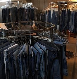 A Sea Of Vintage Denim Blue Jeans (literally hundreds of pairs; all sizes, men's & ladies) ...Just a fraction of the 200+ pairs of men's, ladies & children's vintage blue jeans! Levi's, Lee, Wrangler, Calvin Klein, Gloria Vanderbilt...many sizes to choose from!