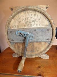 Antique White Cedar Cylinder Churn