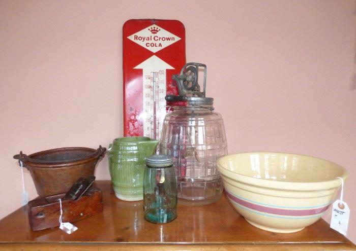 Hammered copper pot, antique plane, McCoy barrel milk pitcher, Mason's blue jar, Royal Crown Cola Thermometer, glass Dazey Churn, Watt mixing bowl