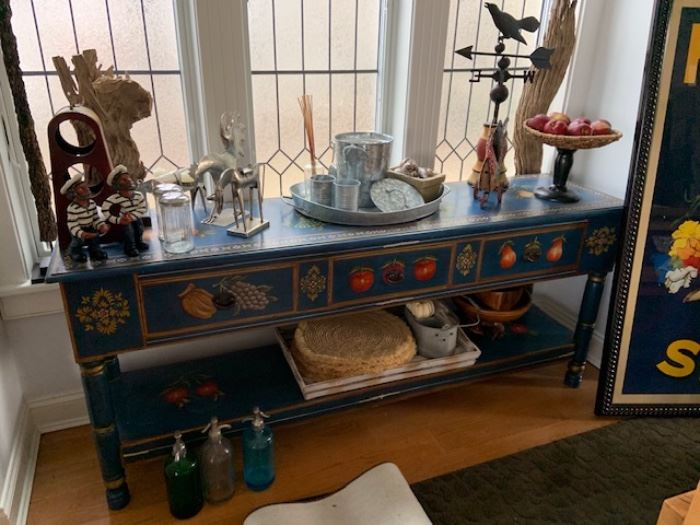 HAND PAINTED CONSOLE TABLE WITH DRAWERS FOR ANY ROOM