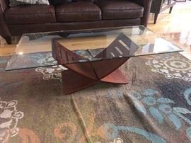 Glass coffee table and rug