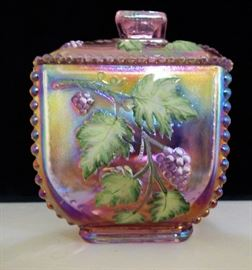 Fenton Iridescent pink Blackberry lidded jar