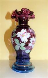 Fenton Amethyst Hand Painted Vase signed