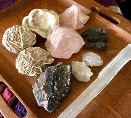 Some of our stones & crystals - desert rose, rose quartz, quartz geodes, tektite, selenite, double terminated Tibetan quartz, hematite - these pictured range $1-$15
