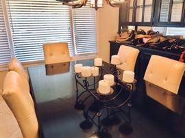 Contemporary Dining Room Table with Cream Leather Chairs for 8