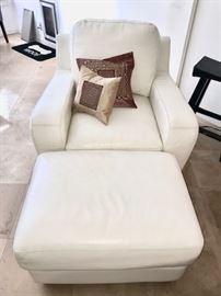 •White Leather Couch and Loveseat