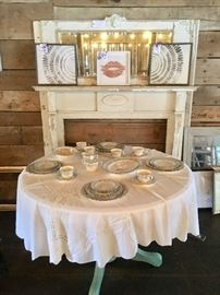 Noritake China, 6 pc. Serving, Vintage Painted Round Table, Home Décor, (mantel not for sale), maybe later