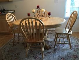 Kitchen table with 6 matching chairs and 3 matching bars stools