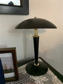 Domed black table lamp