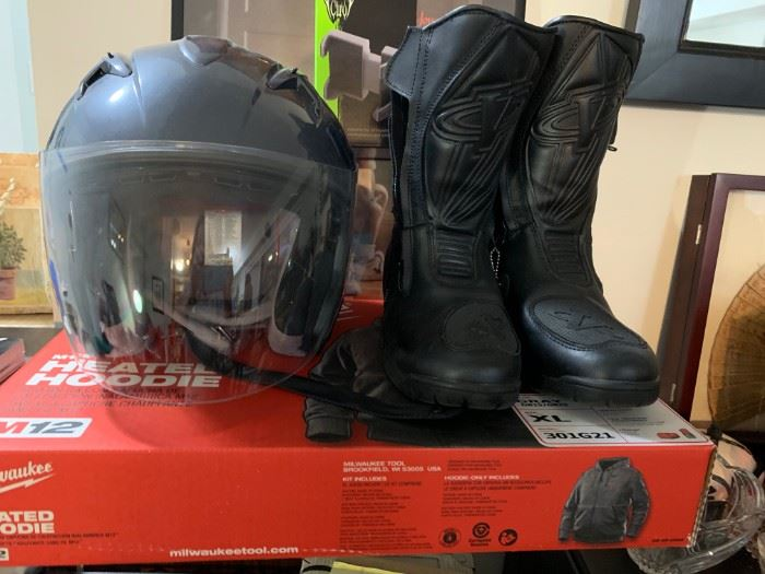 Motorcycle helmet, motorcycle boots and heated  Milwaukee motorcycle jacket.
