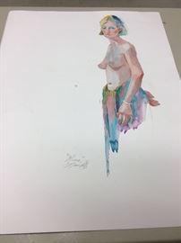 """Original watercolor. 21""""w x 27""""h"""