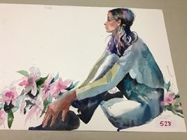 """Original watercolor. 28""""w x 21""""h"""