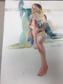 """Original watercolor.  22""""w x 30h"""