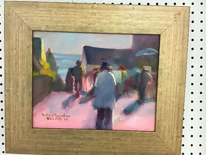 """Original watercolor in gold frame.  """"Painting in Provincetown"""" 19.5""""w x 16.5""""h"""