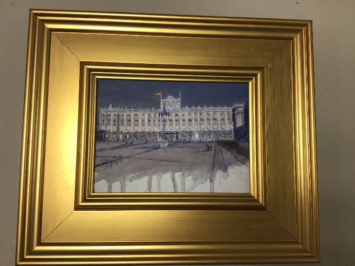 """Original watercolor in gold frame.  """"Palace in Madrid""""  13.5w x 11.5""""h"""