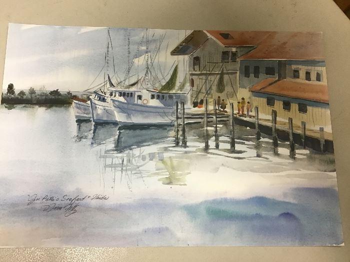"Print. ""Boats at Joe Pattis's"" 20""w x 13.5""h"