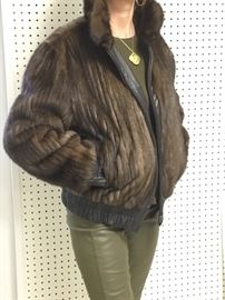 Reversible leather & channeled mink jacket sz 8