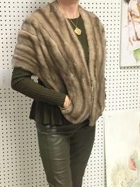 Grey mink cape stole