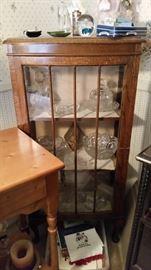 cute oak glass cabinet