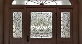Enter through the leaded glass doors....