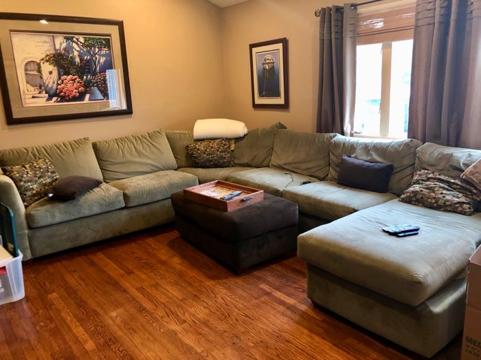Sage green ultra suede  sofa