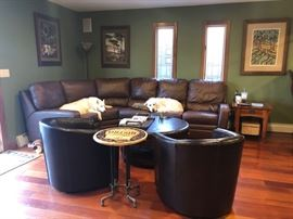 Leather sectional sofa, barrel chairs, occasional tables & art