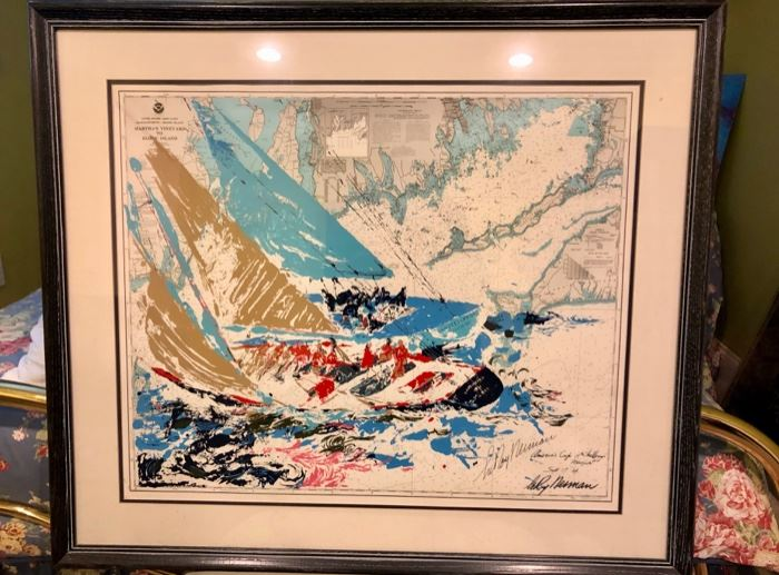"Leroy Neiman ""America's Cup"" silk screen pencil hand signed"
