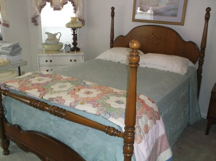 """1930's full size bed and """"Grandmother's Garden"""" handmade quilt"""