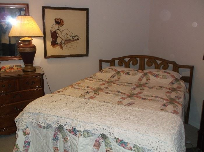 """""""Double Wedding Ring"""" quilt (not handmade) and hand crocheted spread/tablecloth"""