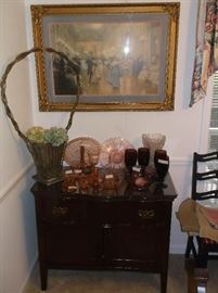 Oak wash stand with pink depression glass and vintage floral basket