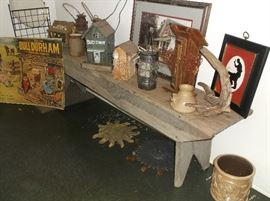 Great primitive bench and birdhouse colletion