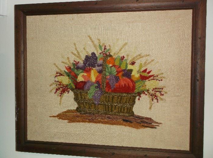 Crewel vegetable and fruit basket wall hanging