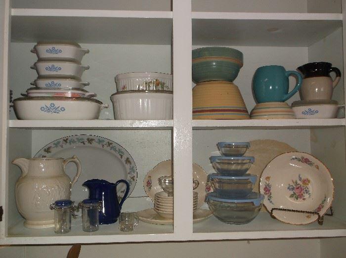 Corningware, mixing bowls, etc.