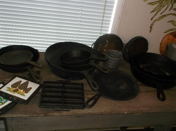Cast iron skillets and tiny corn stick pan