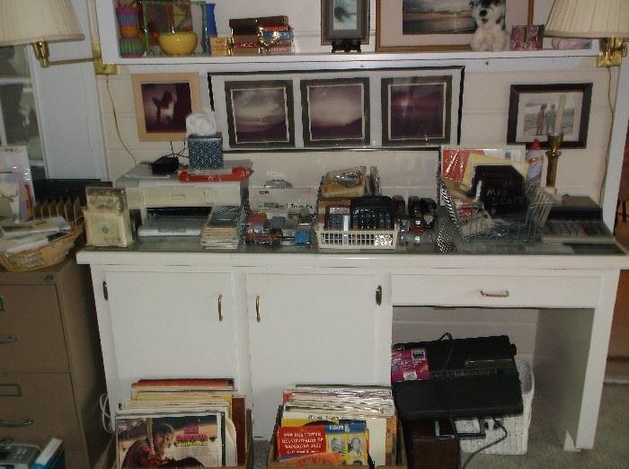 LP's, printer, typewriter, office supplies