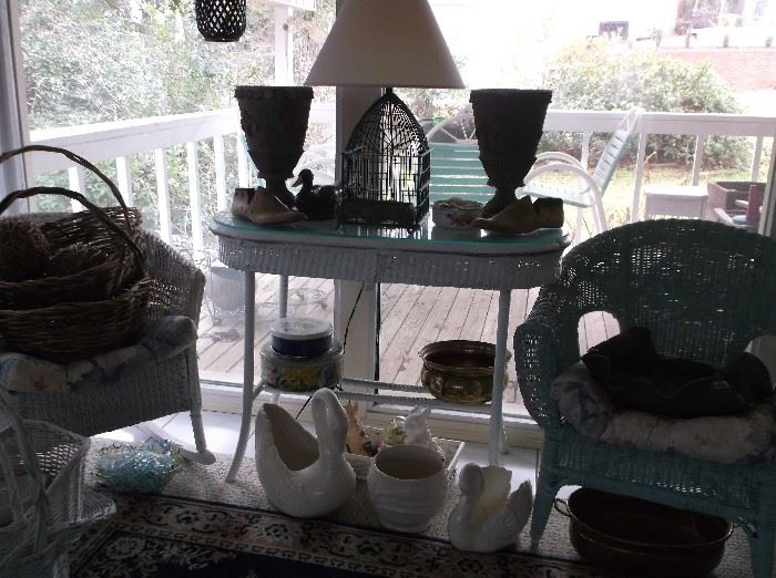 Vintage wicker table and chairs