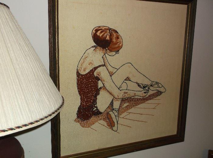 Ballerina crewel embroidery