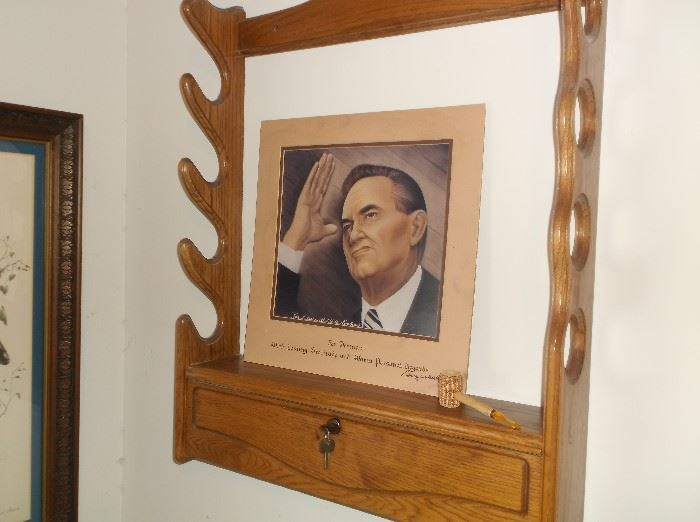 One of two Remington gun racks and autographed print of George Wallace
