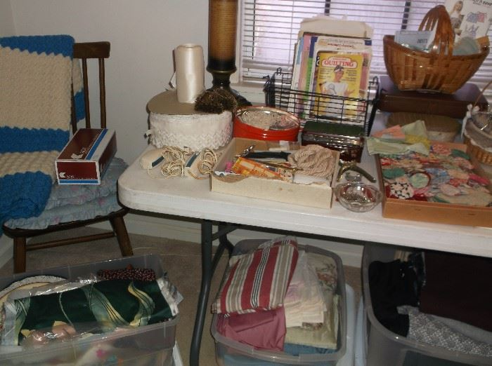 Sewing supplies and fabric pieces