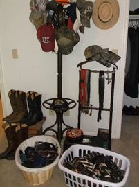 Cowboy boots, vintage neckties, and collectible caps