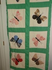 Butterfly appliqued quilt