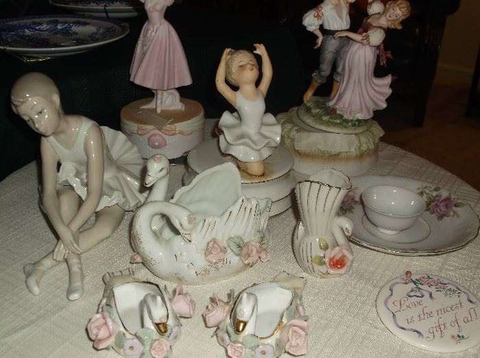 Lladro ballerina, music boxes, and swan collection
