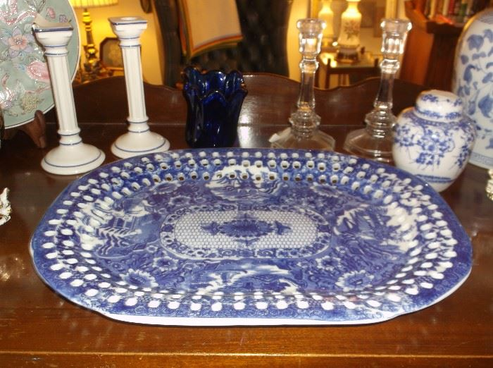 Blue and white transferware platter