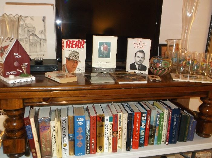 Pine coffee table, Bear Bryant book, Gene Stallings book, George Wallace book, and a few of the many other books