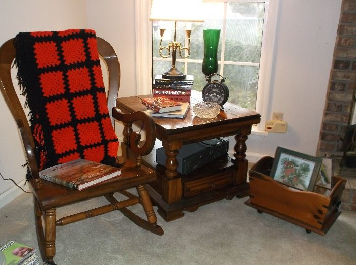 Rocking chair and pine side table